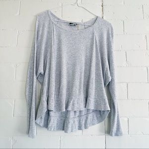 H BY BORDEAUX Gray Waffle Cropped Long Sleeve XS